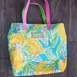 Lily Pulitzer for Estee Lauder green yellow bag